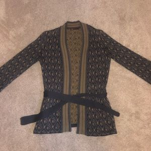 Tea patterned yellow and grey cardigan (S)